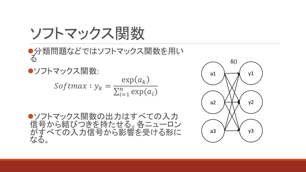 ⚫分類問題などではソフトマックス関数を用い る ⚫ソフトマックス関数:  ∶  = exp  ...