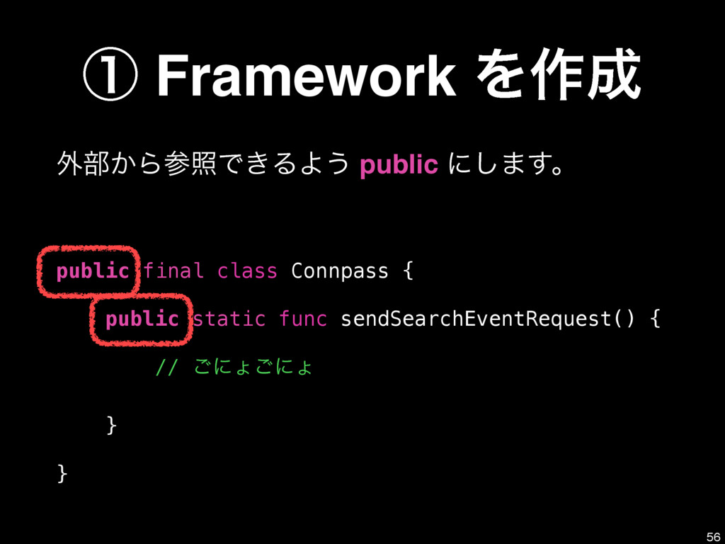 ᶃ Framework Λ࡞ ֎෦͔ΒরͰ͖ΔΑ͏ public ʹ͠·͢ɻ public...