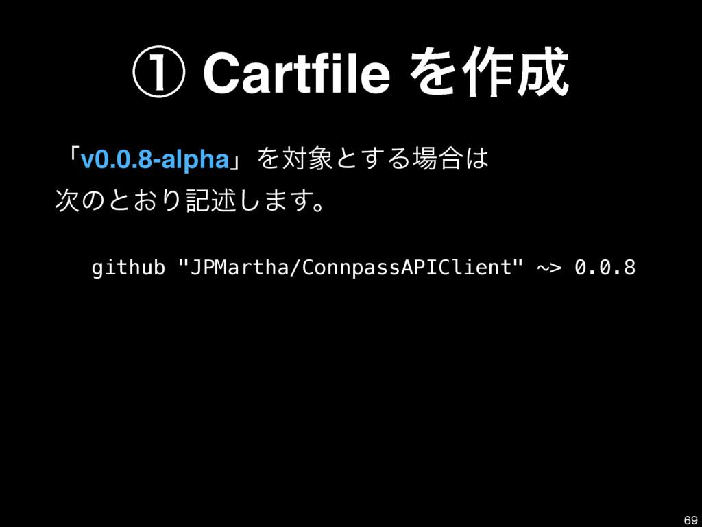 ᶃ Cartfile Λ࡞ ʮv0.0.8-alphaʯΛରͱ͢Δ߹ ͷͱ͓Γهड़͠...