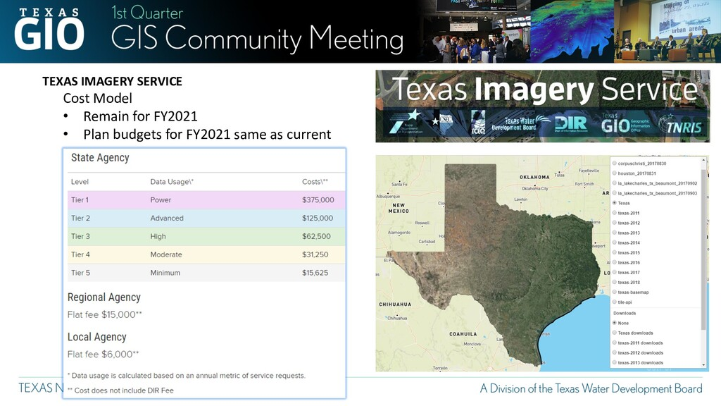 TEXAS IMAGERY SERVICE Cost Model • Remain for F...