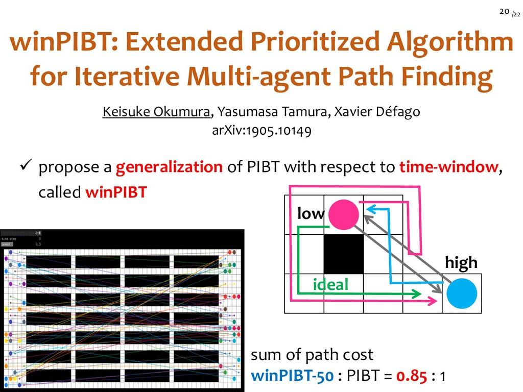 /22 20 winPIBT: Extended Prioritized Algorithm ...