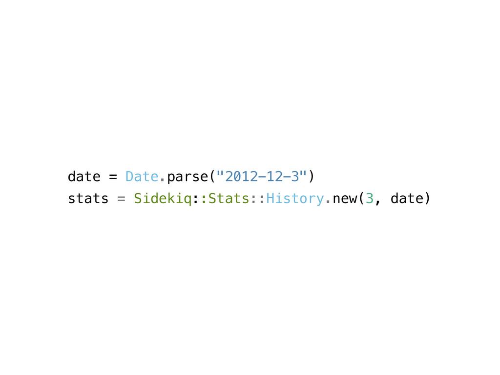"date = Date.parse(""2012-12-3"") stats = Sidekiq:..."