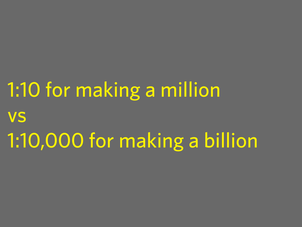 1:10 for making a million vs 1:10,000 for makin...
