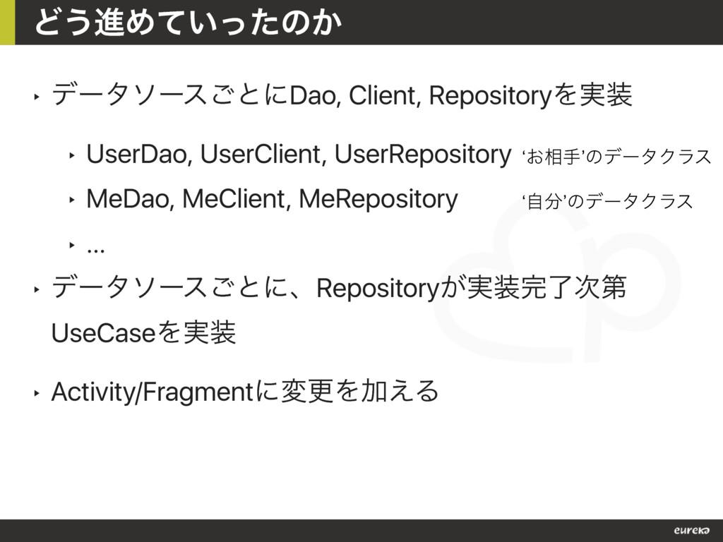 ‣ σʔλιʔε͝ͱʹDao, Client, RepositoryΛ࣮ ‣ UserDao...