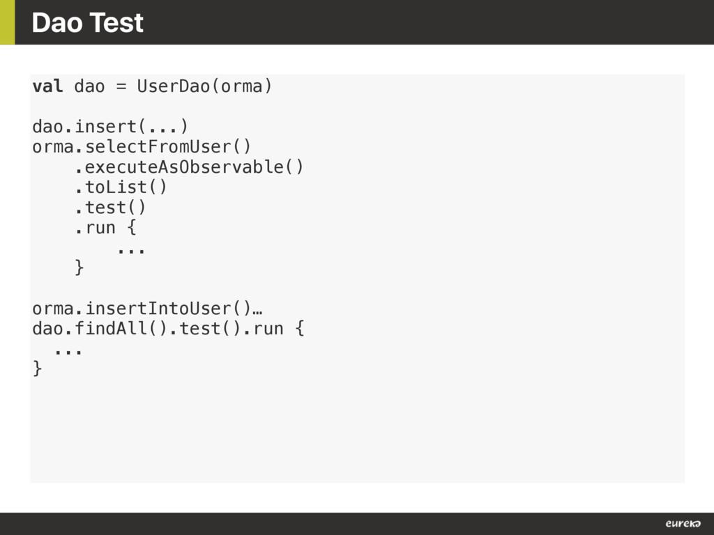 Dao Test val dao = UserDao(orma) dao.insert(......