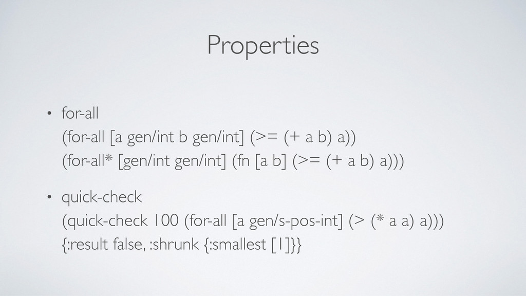 Properties • for-all