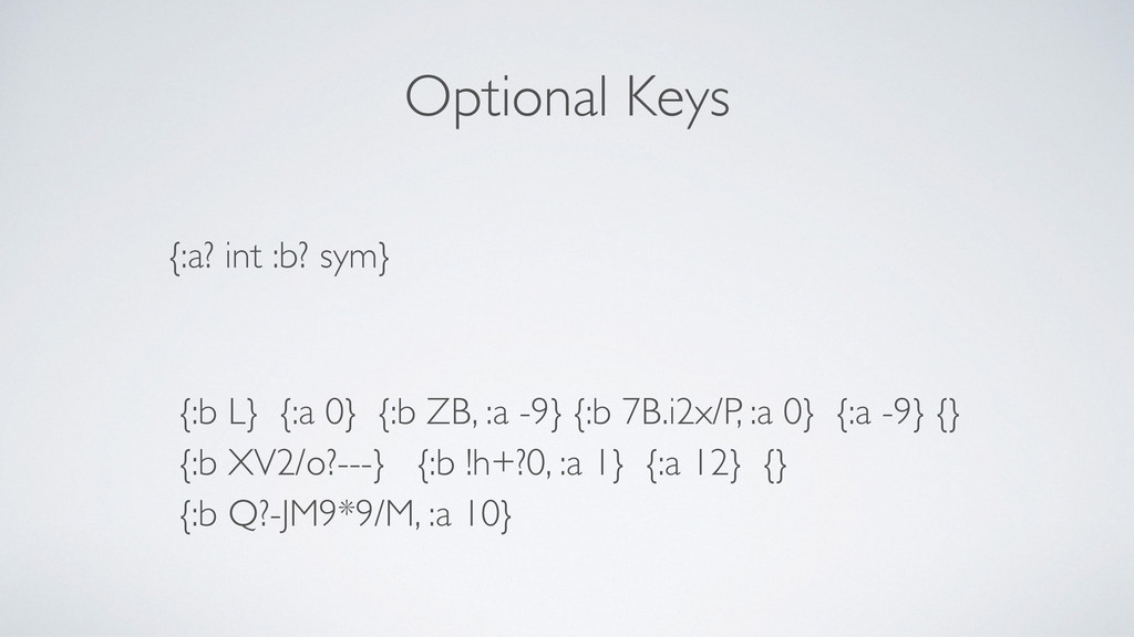 Optional Keys {:a? int :b? sym} {:b L} {:a 0} {...