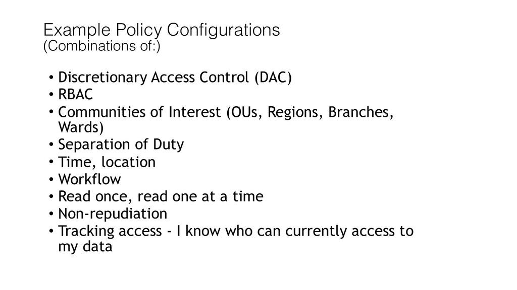 Example Policy Configurations