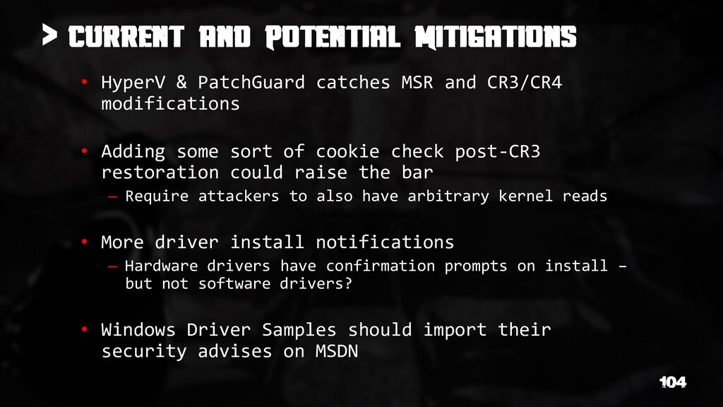 > • HyperV & PatchGuard catches MSR and CR3/CR4...