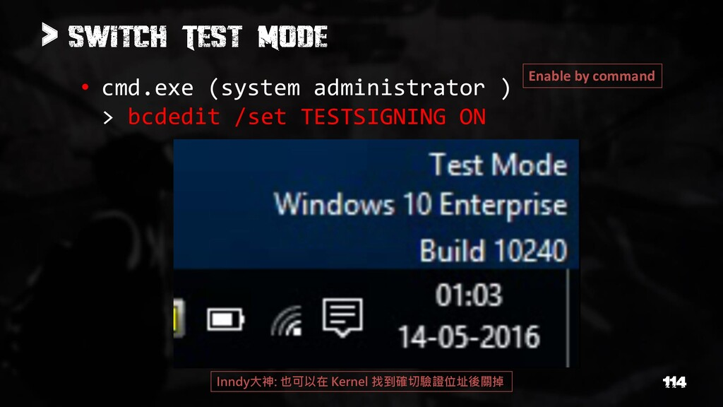 > • cmd.exe (system administrator ) > bcdedit /...