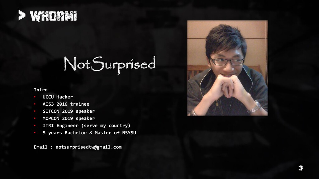 Intro • UCCU Hacker • AIS3 2016 trainee • SITCO...