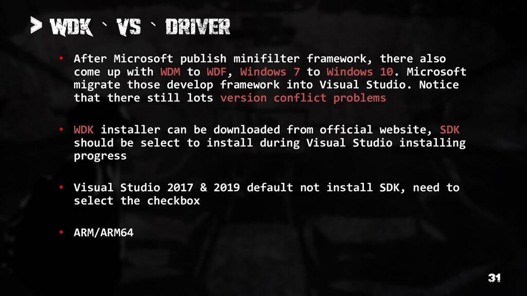 • After Microsoft publish minifilter framework,...
