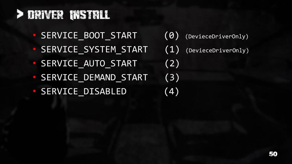 > • SERVICE_BOOT_START (0) (DevieceDriverOnly) ...
