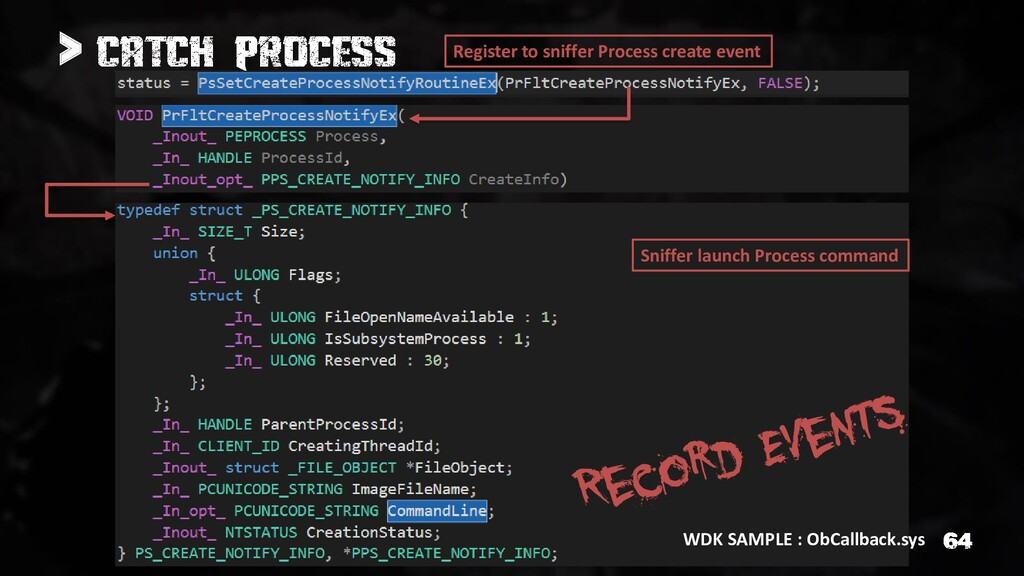 > WDK SAMPLE : ObCallback.sys Register to sniff...