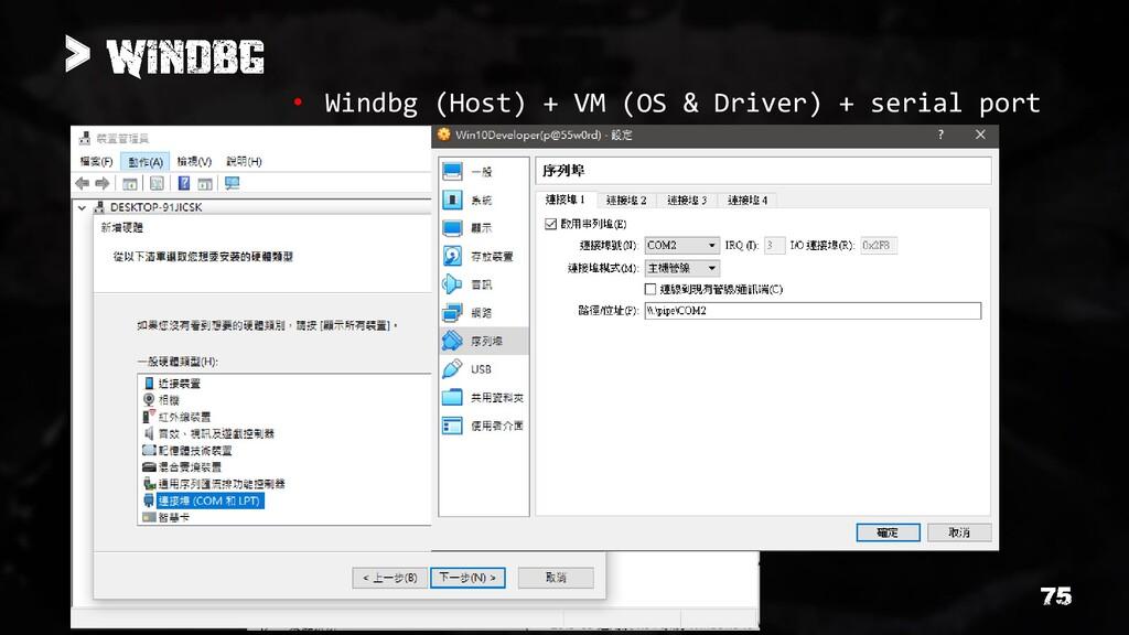 > • Windbg (Host) + VM (OS & Driver) + serial p...