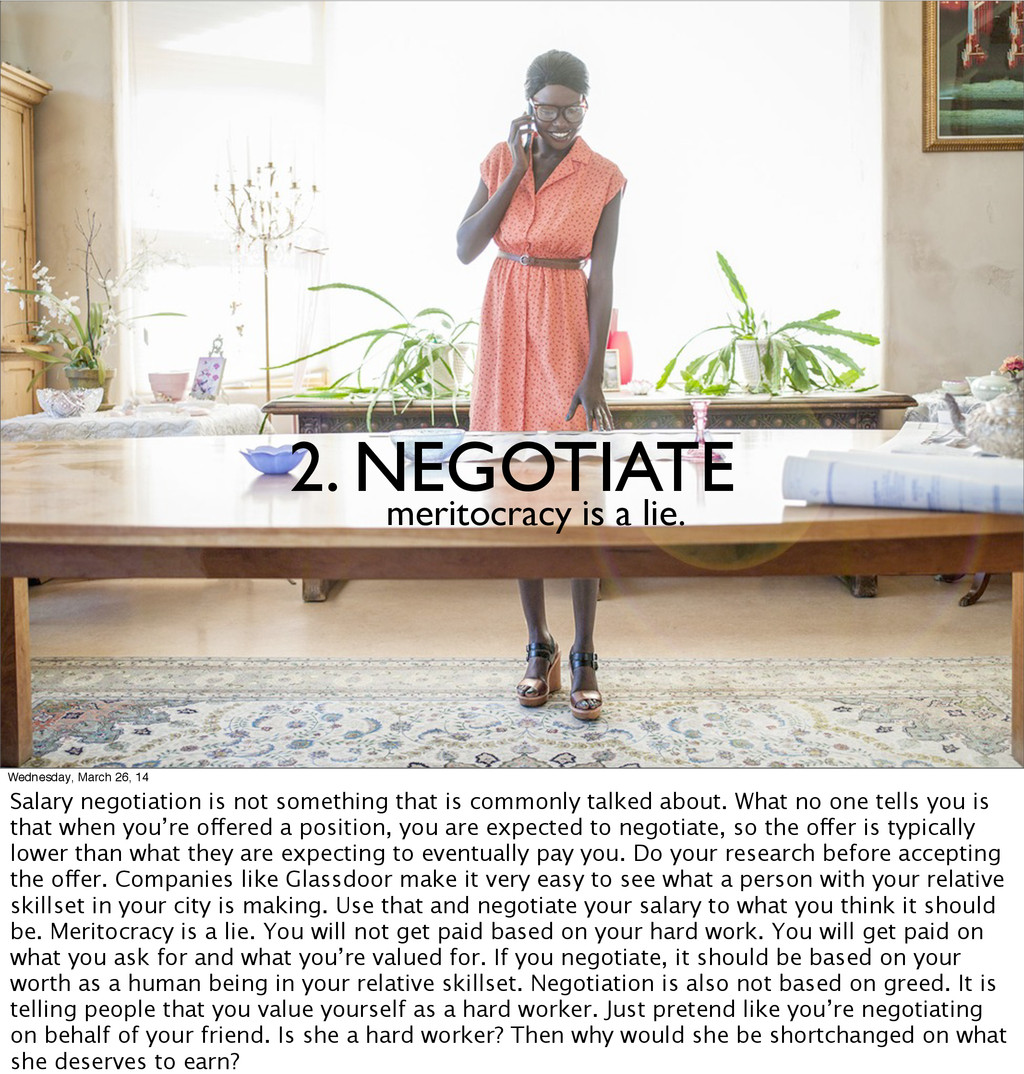 2. NEGOTIATE meritocracy is a lie. Wednesday, M...