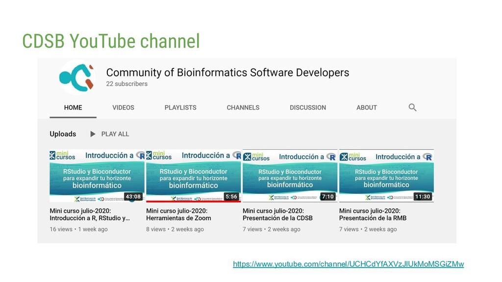 CDSB YouTube channel https://www.youtube.com/ch...