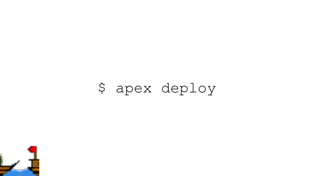 $ apex deploy