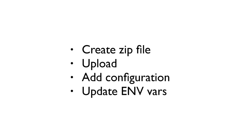 • Create zip file • Upload • Add configuration • ...