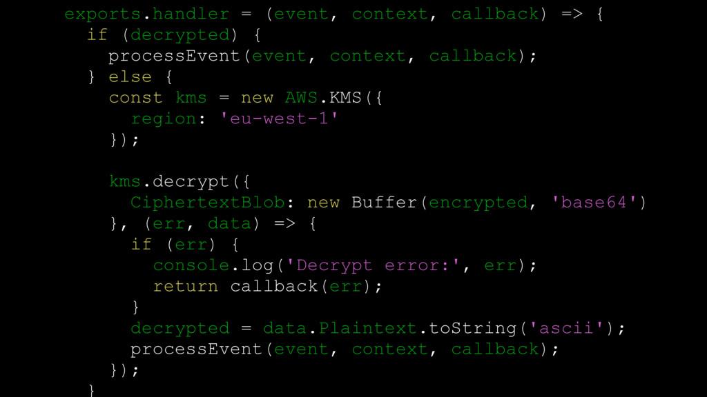 exports.handler = (event, context, callback) =>...
