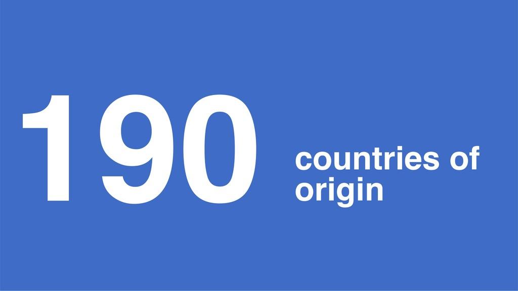 190 countries of origin