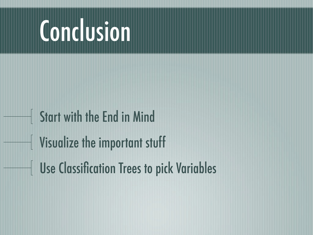 Conclusion Start with the End in Mind Visualize...