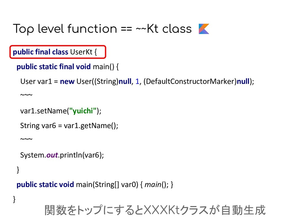 Top level function == ~~Kt class public final c...