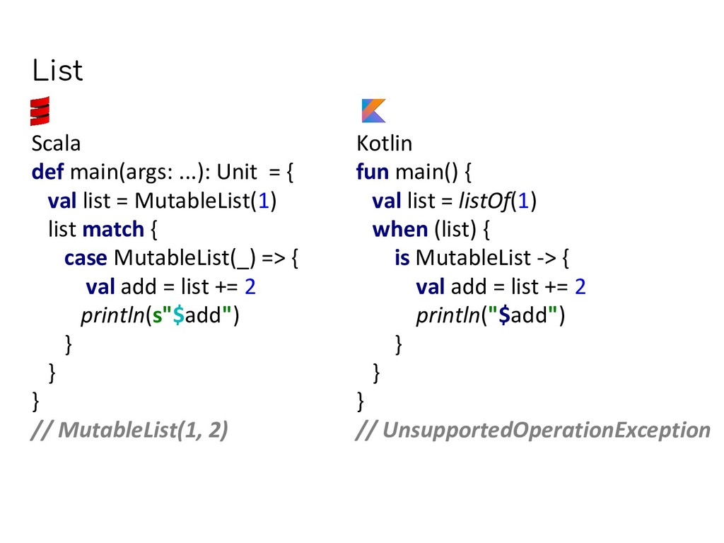 Kotlin fun main() { val list = listOf(1) when (...