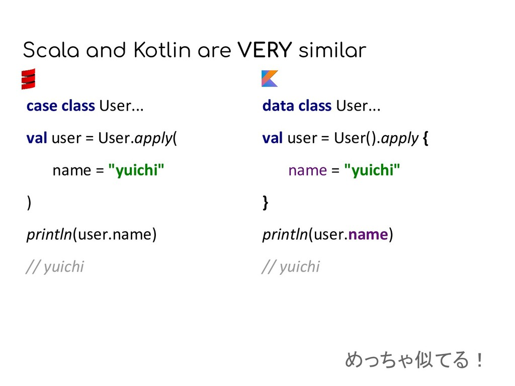 Scala and Kotlin are VERY similar data class Us...
