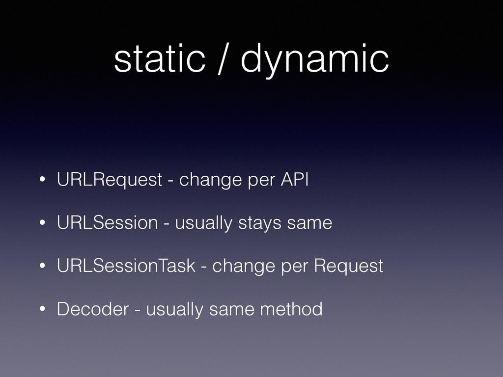 static / dynamic • URLRequest - change per API ...