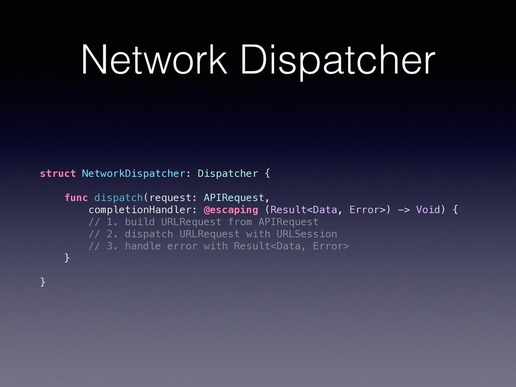 Network Dispatcher struct NetworkDispatcher: Di...
