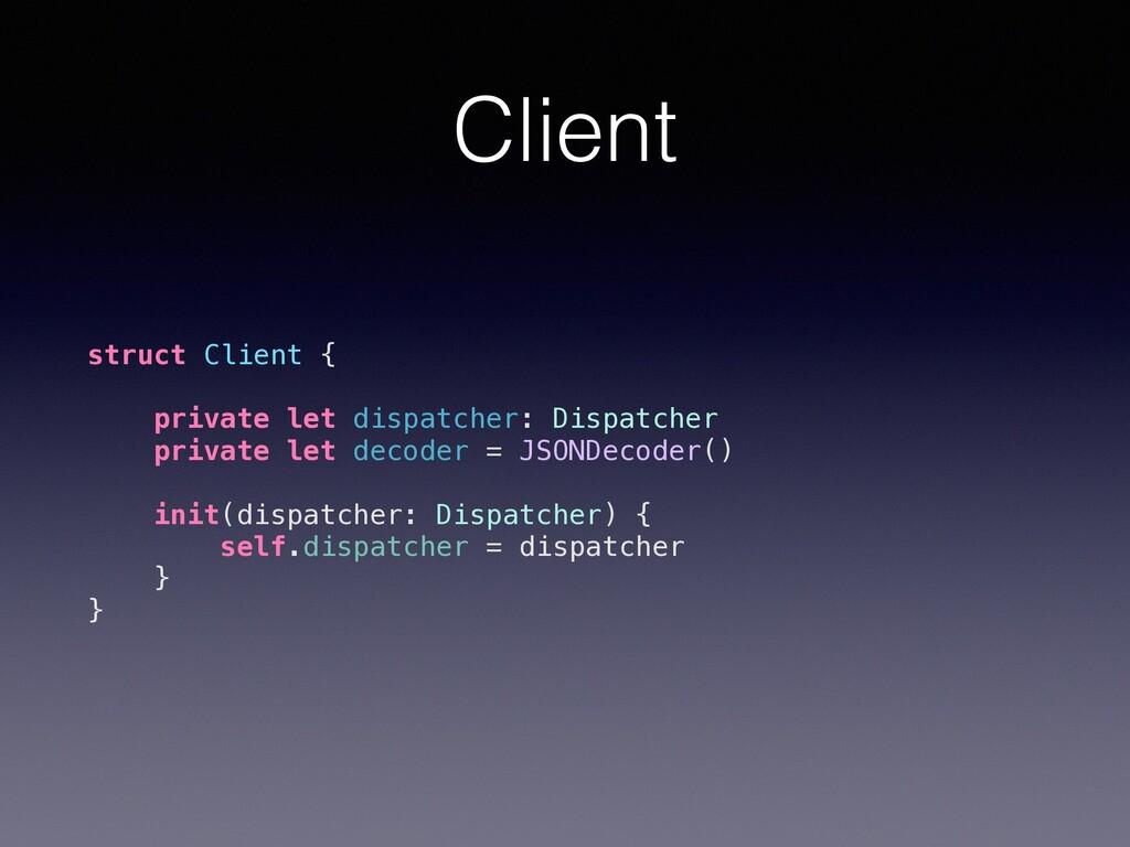 Client struct Client { private let dispatcher: ...