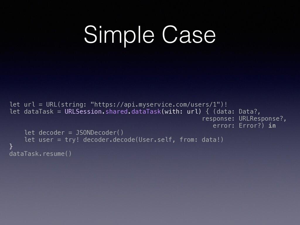"Simple Case let url = URL(string: ""https://api...."