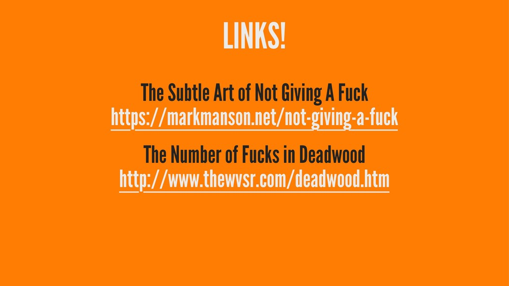 LINKS! The Subtle Art of Not Giving A Fuck http...