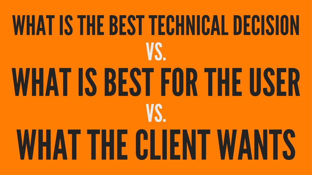 WHAT IS THE BEST TECHNICAL DECISION VS. WHAT IS...