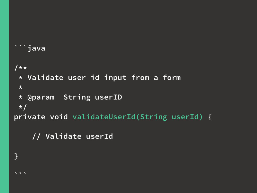 ```java /** * Validate user id input from a for...