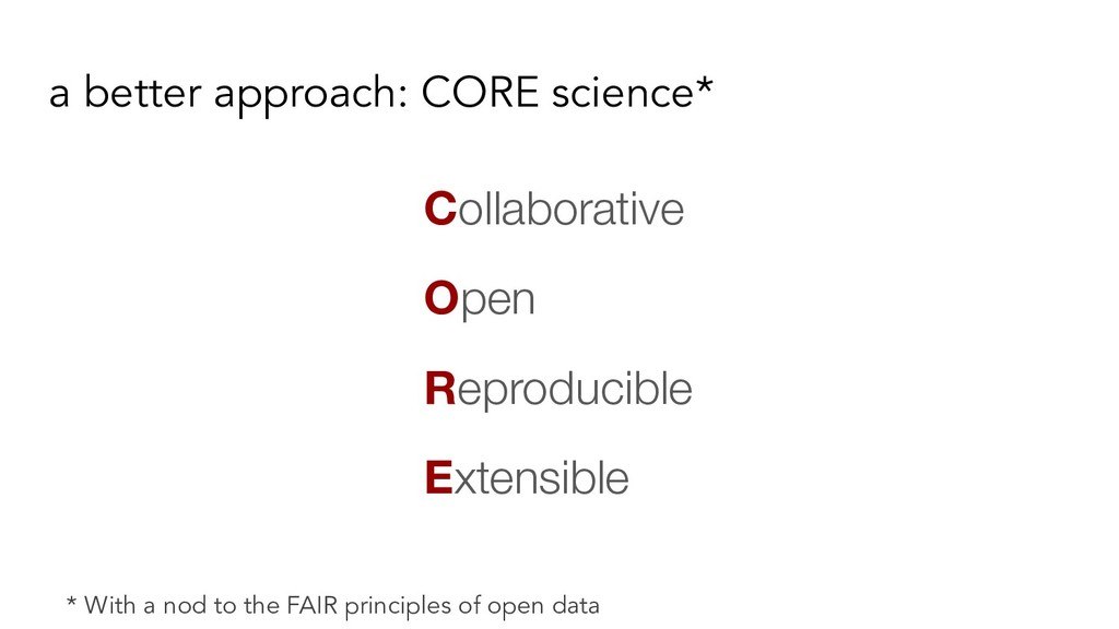 a better approach: CORE science* Collaborative ...