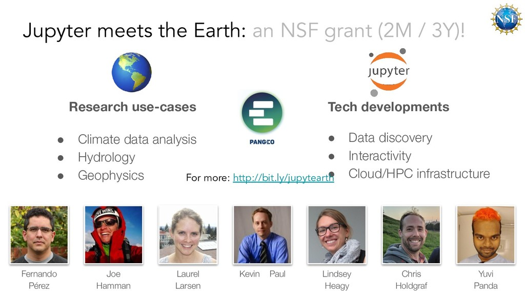 Jupyter meets the Earth: an NSF grant (2M / 3Y)...