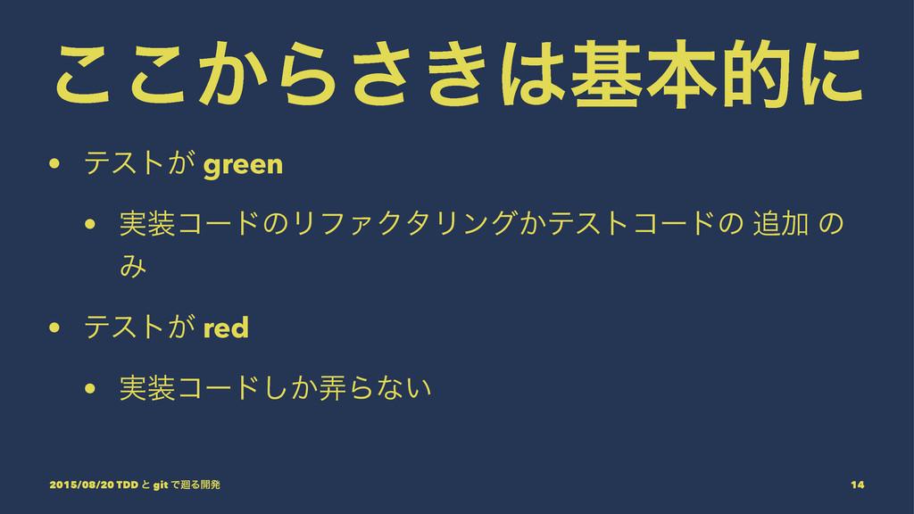 ͔͜͜Β͖͞جຊతʹ • ςετ͕ green • ࣮ίʔυͷϦϑΝΫλϦϯά͔ςετίʔ...