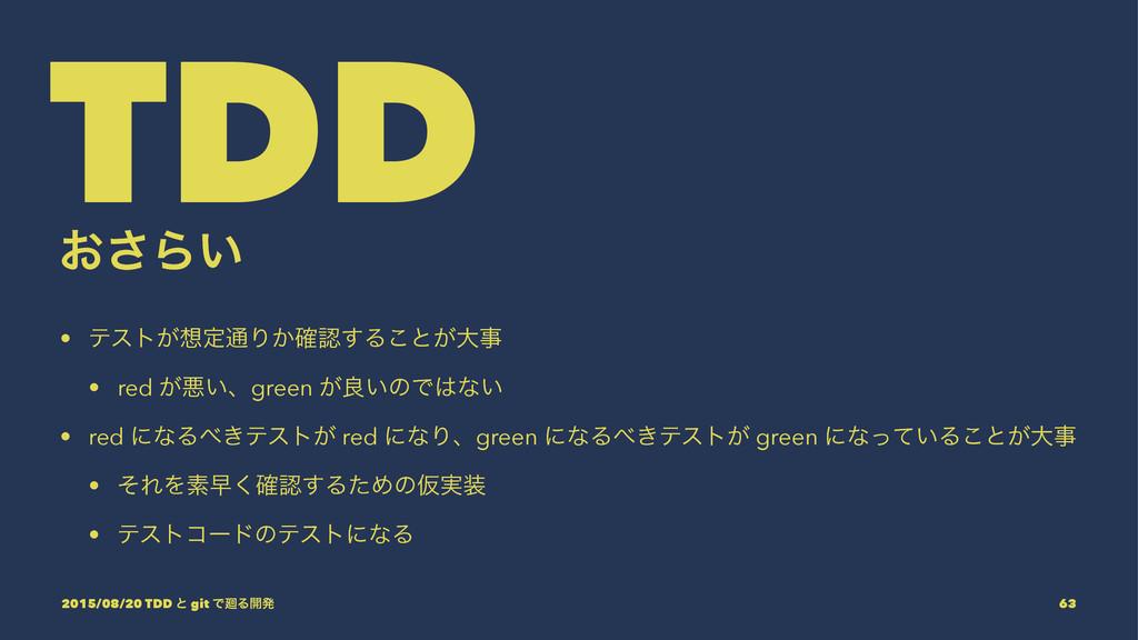 TDD ͓͞Β͍ • ςετ͕ఆ௨Γ͔֬͢Δ͜ͱ͕େ • red ͕ѱ͍ɺgreen ͕...