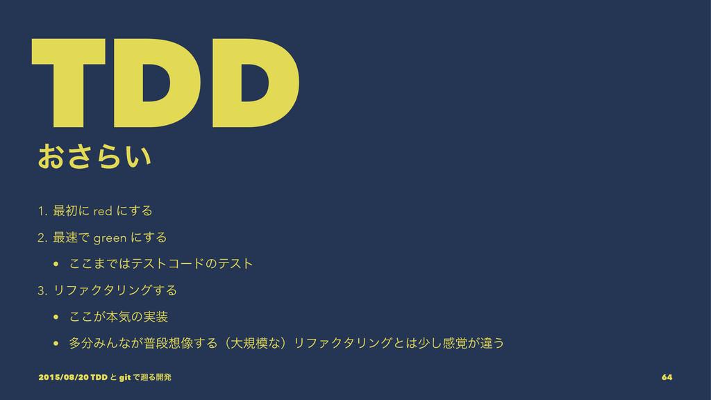 TDD ͓͞Β͍ 1. ࠷ॳʹ red ʹ͢Δ 2. ࠷Ͱ green ʹ͢Δ • ͜͜·Ͱ...