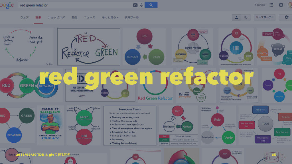 red green refactor 2015/08/20 TDD ͱ git Ͱ㕩Δ։ൃ 65
