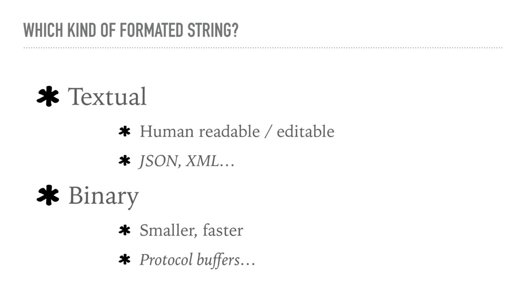 WHICH KIND OF FORMATED STRING? Textual Human re...