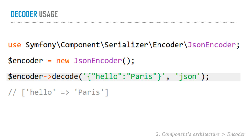 DECODER USAGE 2. Component's architecture > Enc...