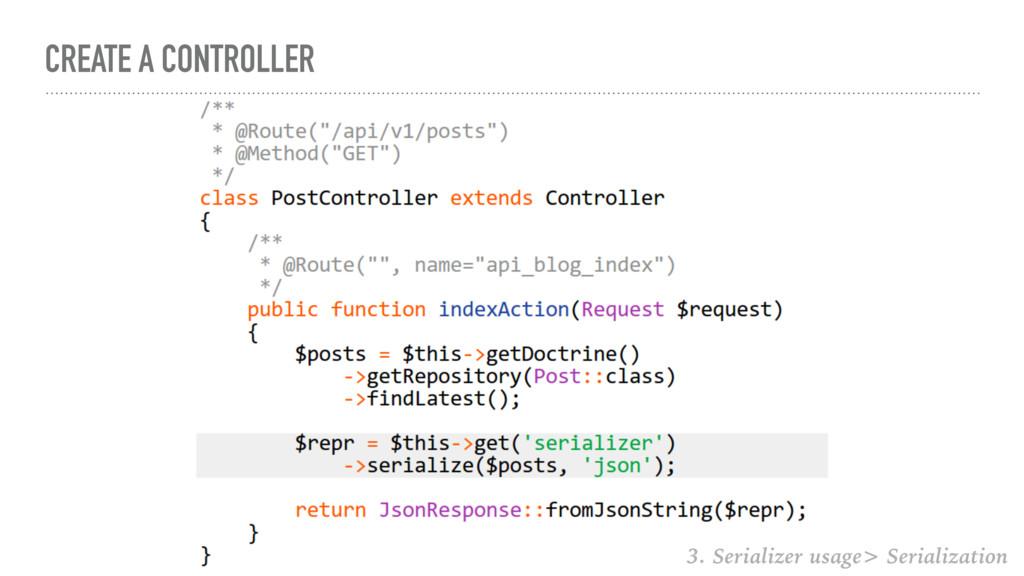 CREATE A CONTROLLER 3. Serializer usage> Serial...