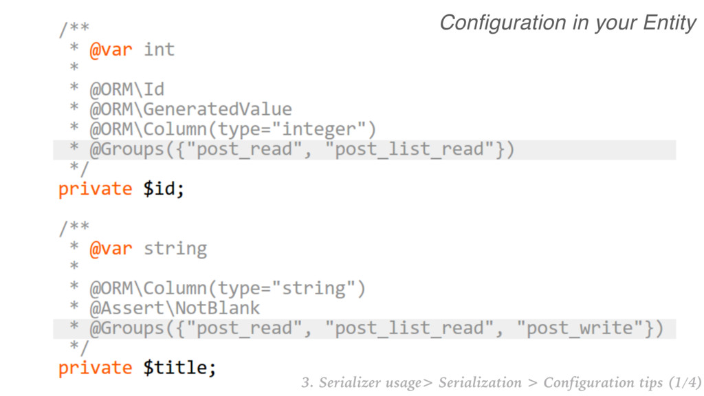 Configuration in your Entity 3. Serializer usag...