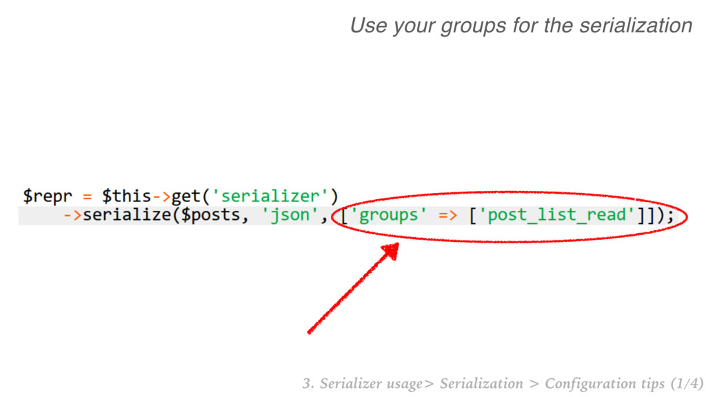 Use your groups for the serialization 3. Serial...
