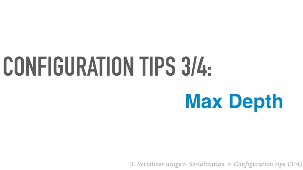 Max Depth CONFIGURATION TIPS 3/4: 3. Serializer...