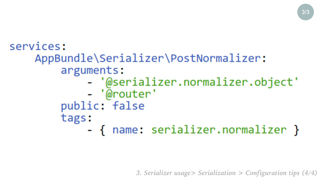 3/3 3. Serializer usage> Serialization > Config...