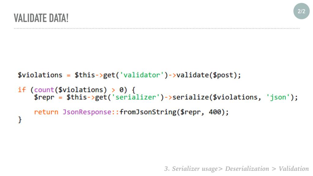 VALIDATE DATA! 2/2 3. Serializer usage> Deseria...